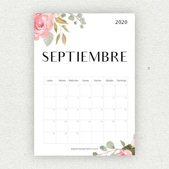 Calendario 2020 de Septiembre para imprimir