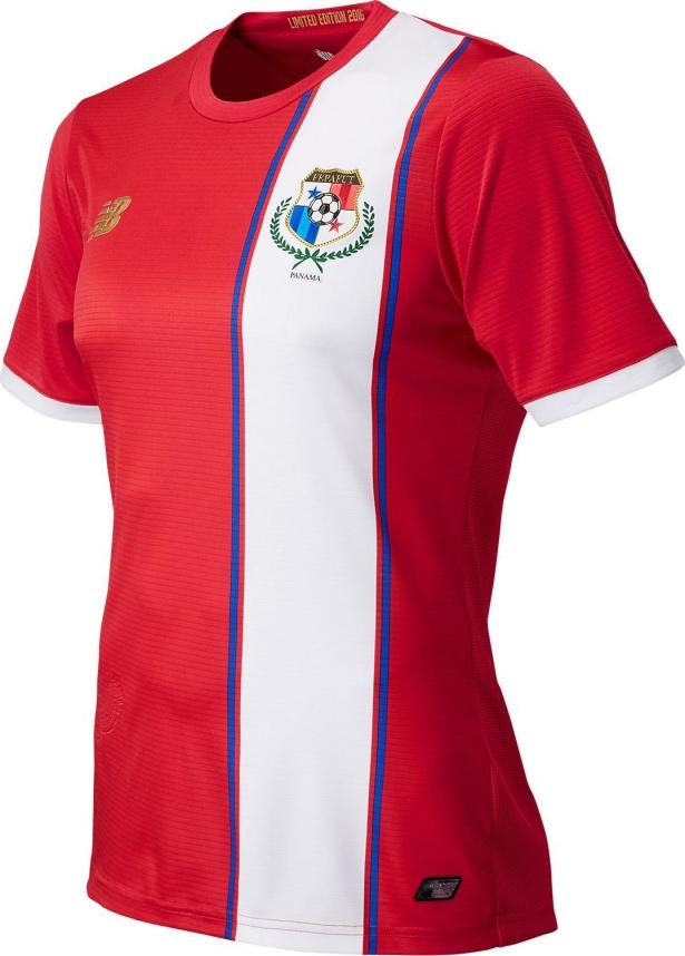 A camisa titular é predominantemente vermelha uma faixa vertical banca do  lado esquerdo f2f11cf66d8a1