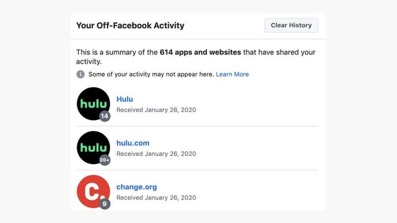 your off facebook activity
