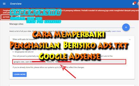 Cara Memperbaiki Penghasilan Berisiko ads.txt Google Adsense