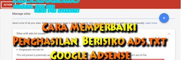 Cara Pasang Ads.txt Untuk Publisher AdSense Blogger Terbaru