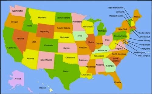 Amerika Birleşik Devletleri Eyaletleri Haritası AMERİKA BİRLEŞİK
