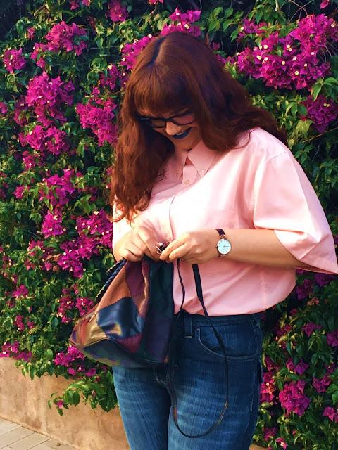 outfit giorno pink quartz blue serenity fashion blog zairadurso zaira d'urso fashion's obsessions mockberg vintage bah asos loafers mum jeans tumblr girl instagram blue lips