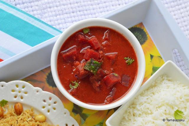 Beetroot Gravy Curry - Udipi Style