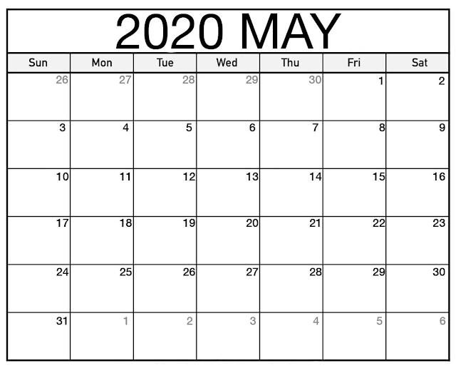 May 2020 Printable Calendar Word, Blank May 2020 Calendar Printable, Printable May Calendar 2020, May Calendar Template, Free Calendar May 2020