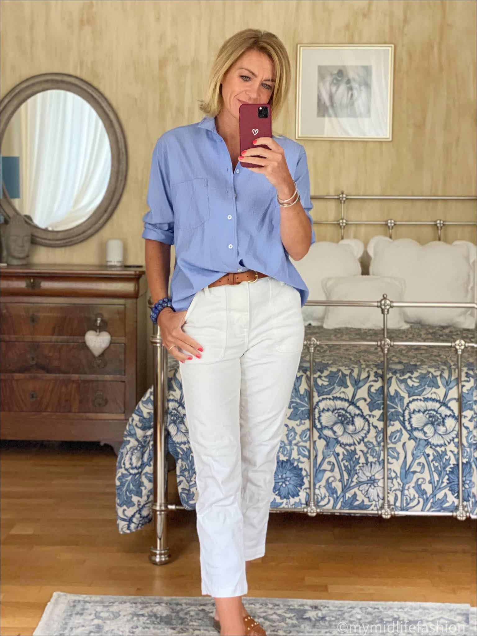 my midlife fashion, Zara chambray oversized shirt, Massimo Dutti leather belt, j crew cropped kick flare jeans, basalt studded leather sliders