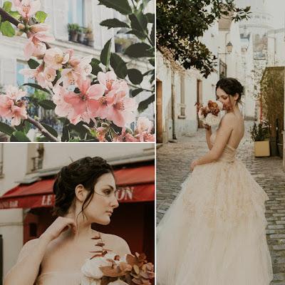 Balade romantique à Paris, robe de mariée nude d'Ors et de Soie
