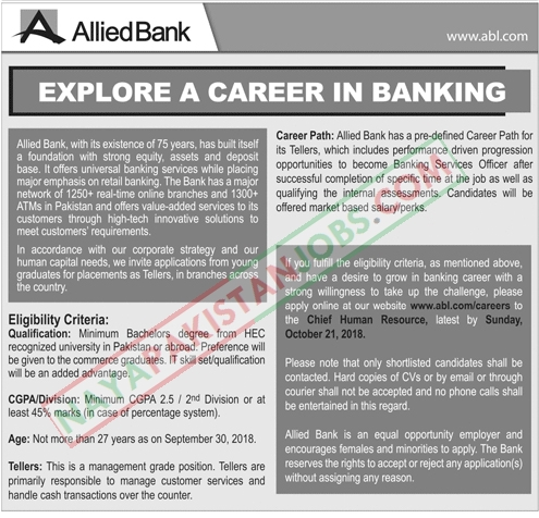 Latest Vacancies Announced abl.com in Allied Bank Limited Ltd Apply Online 14 October 2018 - Naya Pakistan