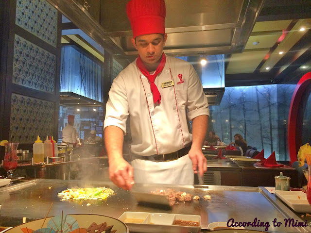 A chef at the Benihana Restaurant in The Avenues, Kuwait
