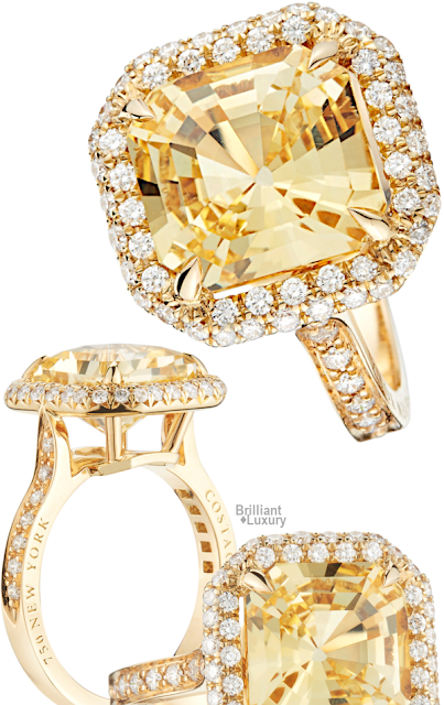 Brilliant Luxury♦Paolo Costagli Gia Certified Yellow Asscher Cut Sapphire And Diamond Ring