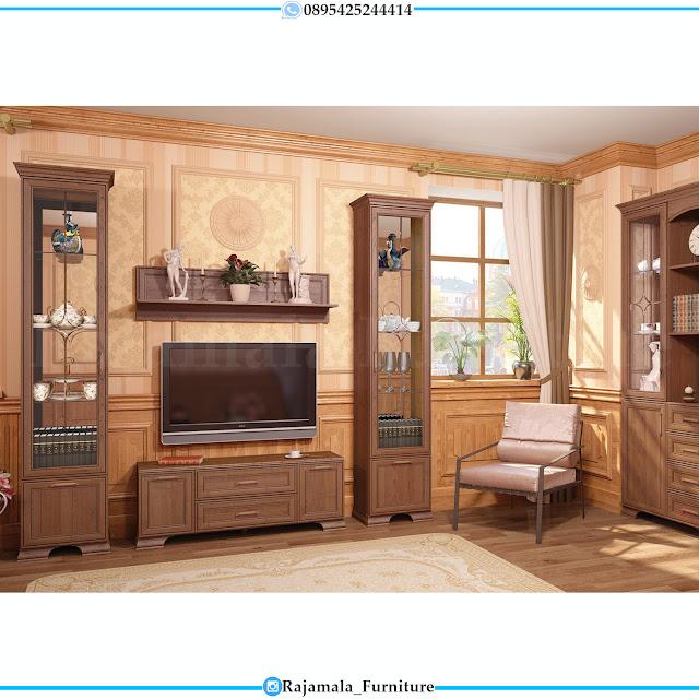 Harga Meja TV Mewah Minimalis Jati Natural Classic Luxury RM-0391