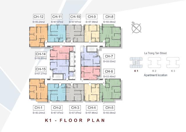 Mặt bằng tầng căn hộ điển hình tòa K1 - The K-Park