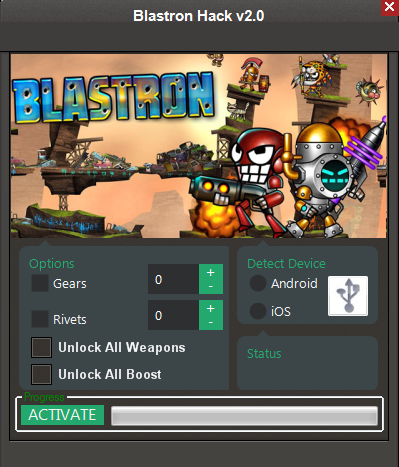 Download Free Blastron (All Versions) Hack v2.0 Unlimited Gears,Rivets,Unlock All Weapons, Unlock All Boost 100% working and Tested for IOS and Android MOD.