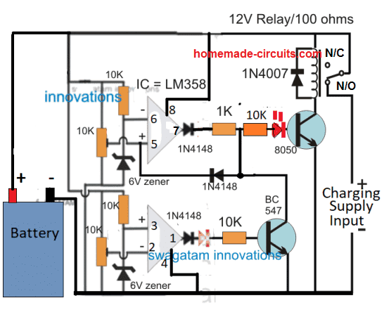 dual opamp high current battery charger circuit
