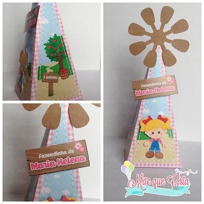 caixa cone piramide fazendinha rosa
