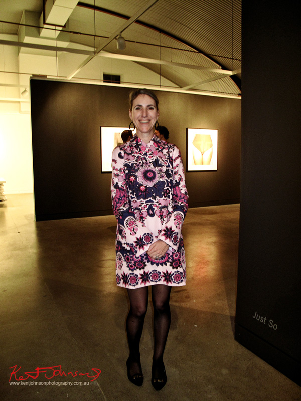 Retro floral print dresss in purple and pink, photographed at the Pat Brassington show at Stills Gallery.