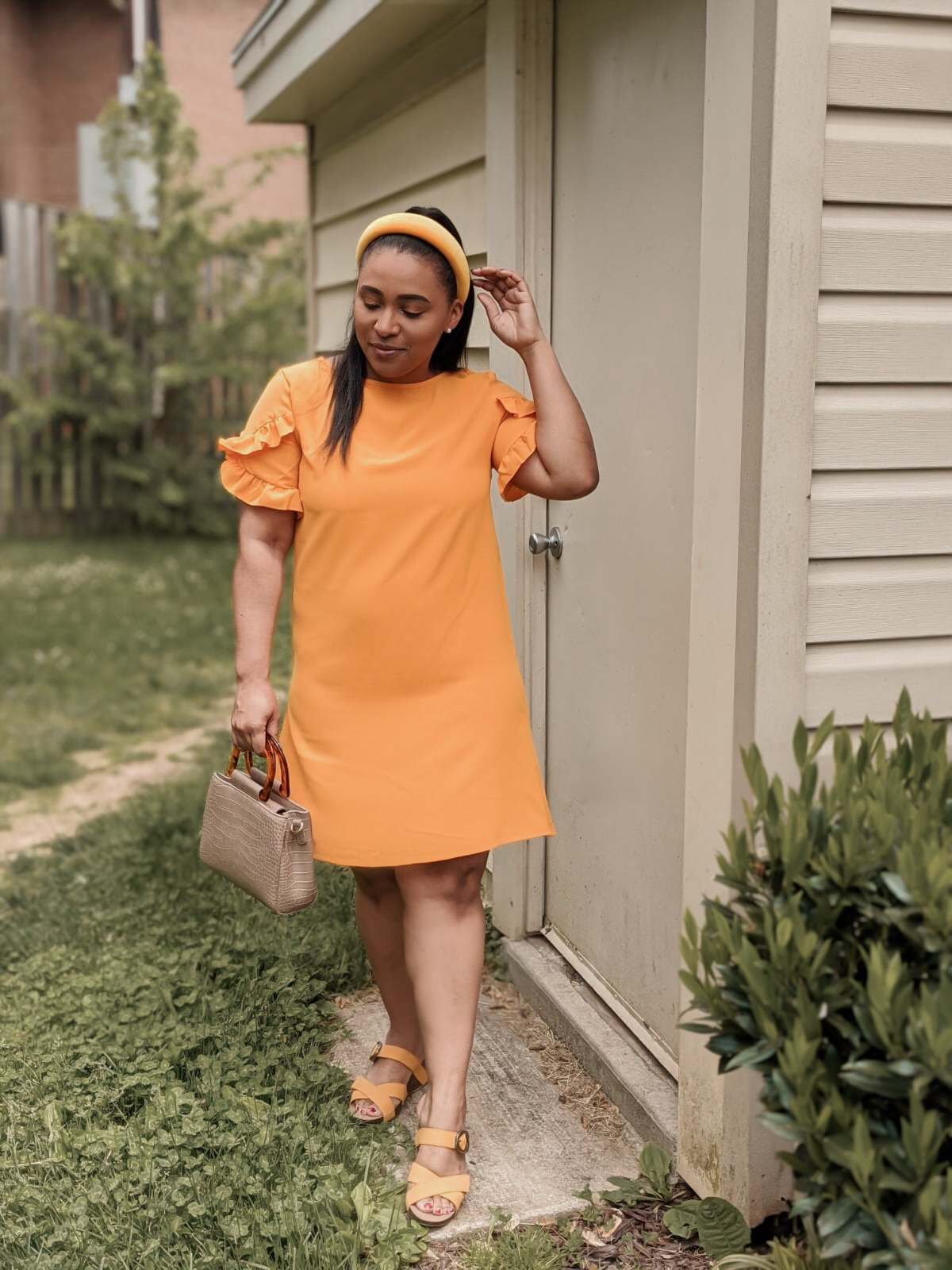 shein, shein reviews, shein dresses, ruffle dress, summer dresses, pattys kloset, mustard dresses
