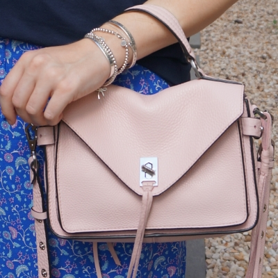 Rebecca Minkoff small Darren messenger bag in peony with monochromatic blue outfit | awayfromtheblue