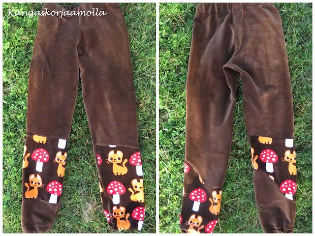 ompele housut tilkuista