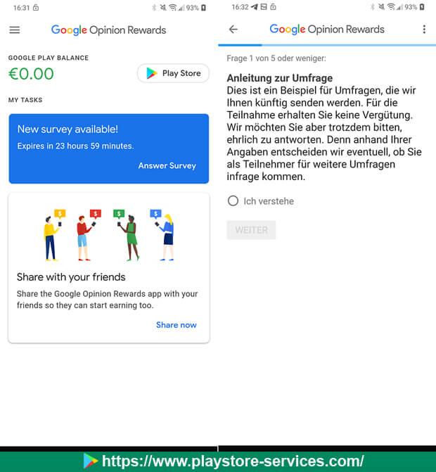 المكافأة: استطلاعات كاملة على تطبيق Google Opinion Rewards