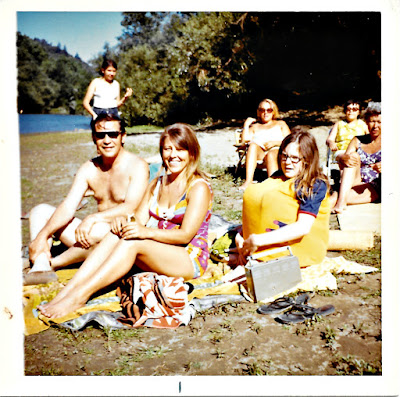 Frank Storti, Lena Vasilev, Margo Storti, Lana Thomson, Olga Mejia, and Natalie Vasilev chillin' on the beach at the Russian River sometime in 1970 or 1971.