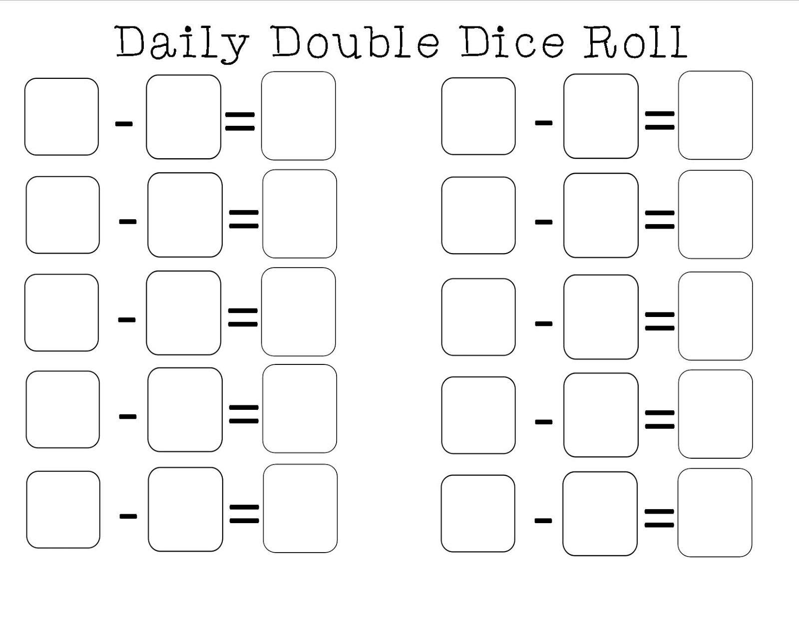S Subtraction Dice Game Printable Worksheet