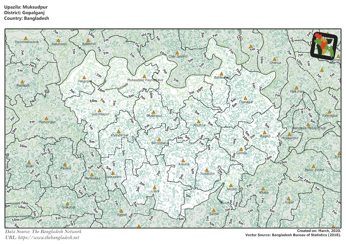 Muksudpur Upazila Elevation Map Gopalganj District Bangladesh