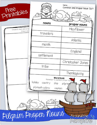 Free printable Thanksgiving common and proper nouns activity page