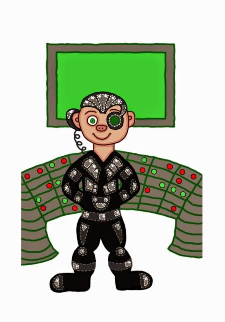 Illusztráció gyerekvershez, Star Trekből ismert Borg által asszimilált, implantátumos, fél gép, félig szerves humanoid kiborg gyerek a kollektívában.