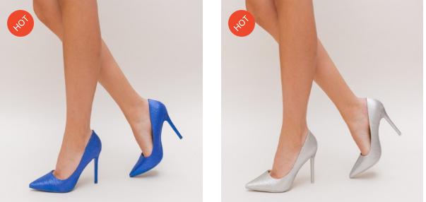 Pantofi de ocazii cu toc inalt gri, albastri metalizat ieftini