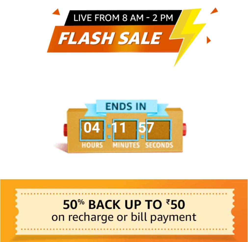 Amazon Flash Sale – Get 50% Cashback Up to Rs 50 on Recharge