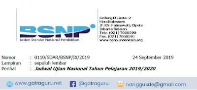 Surat Edaran BSNP Mengenai Jadwal Ujian Nasional Tahun Pelajaran 2019/2020