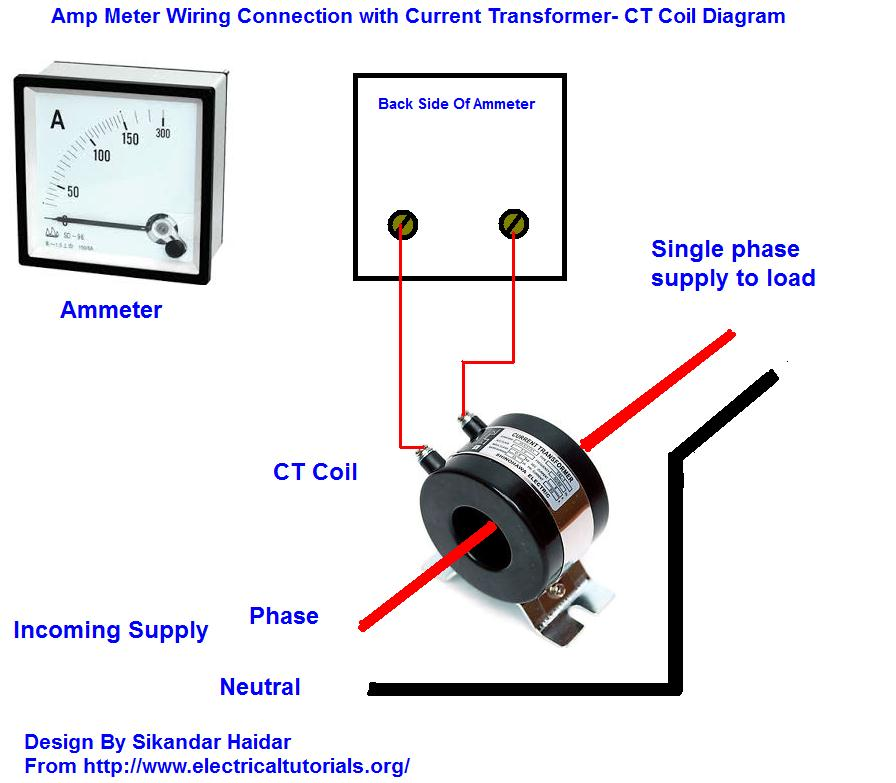 Wiring Diagram Current Transformer : Amp meter wiring with current transformer in urdu hindi