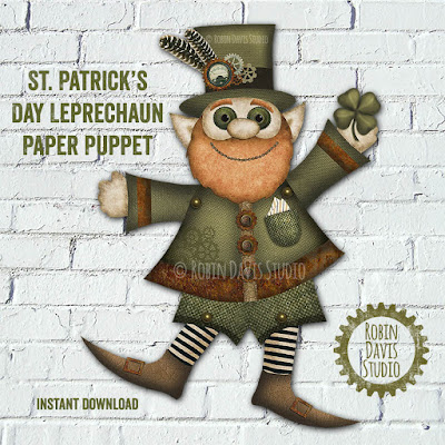 Leprechaun Paper Doll DIY craft - Robin Davis Studio