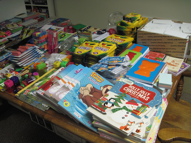 School supplies for packing in Operation Christmas Child shoeboxes.