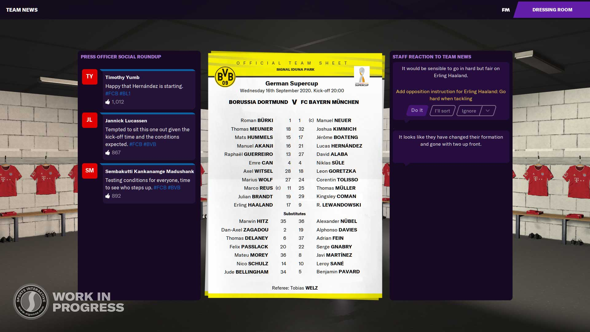 Pre-match Build Up - Team Sheets