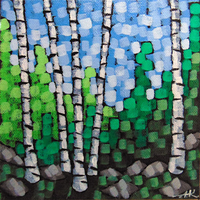 Into the Forest painting by artist aaron kloss at sivetson gallery, painting of summer birches, pointillism