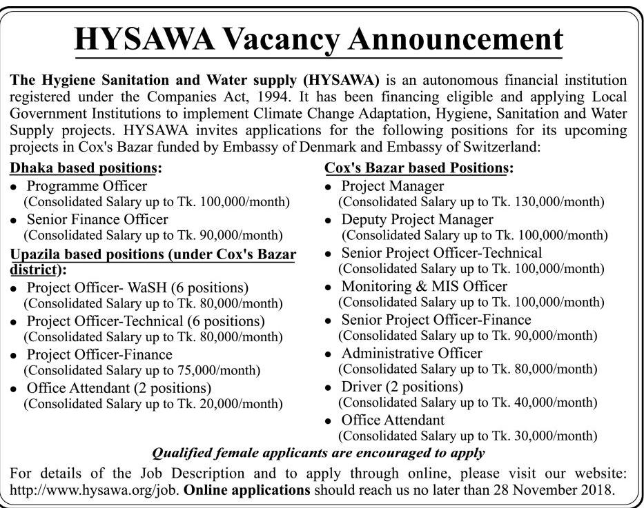 Hygiene Sanitation and Water Supply (HYSAWA) Job Circular 2018
