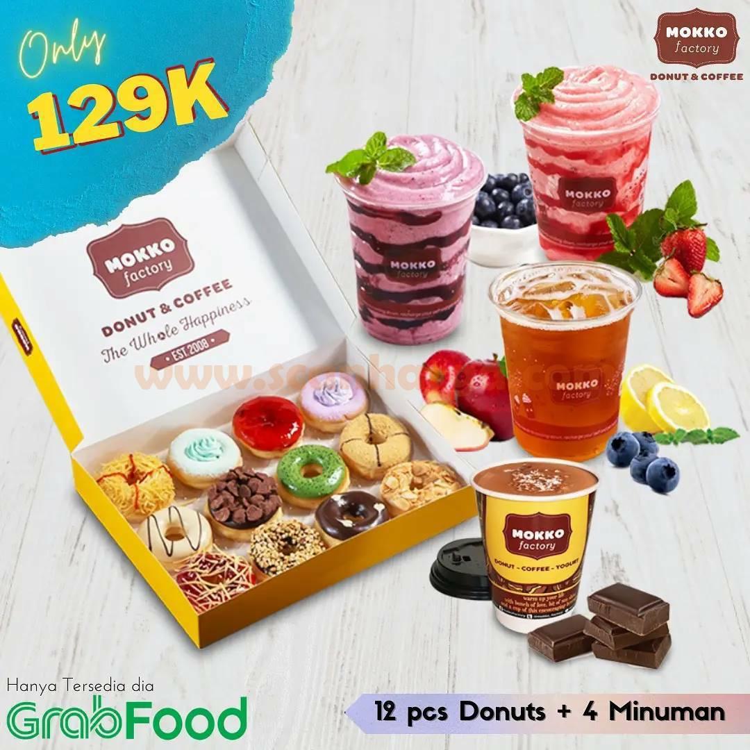 Mokko Factory Promo Grabfood - 12 Pcs Donut + 4 Minuman cuma 129K