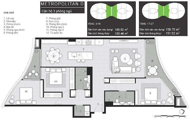 Tháp Pormenade căn hộ City Garden: Metropolitan D - 3 Phòng ngủ