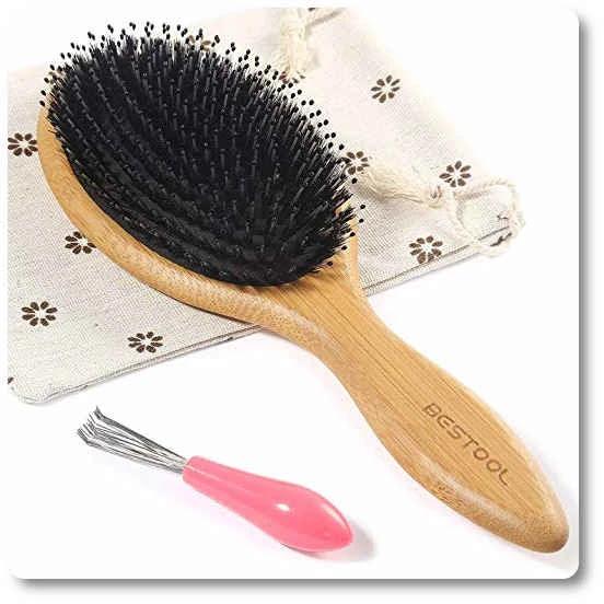 Boar Bristle Hair Brush With Bamboo Paddle Detangler Brush