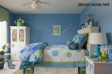 Small Bedroom Ideas, Blue Bedroom Paint Color , Textiles