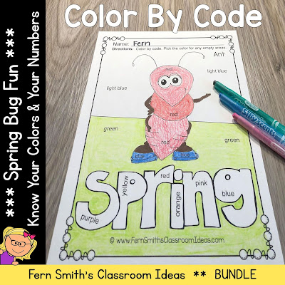 Color By Code Spring Bug Fun Know Your Colors and Know Your Numbers Bundle