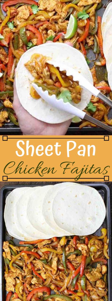 SHEET PAN BAKED CHICKEN FAJITAS #dinner #chicken #food #fajitas #easy