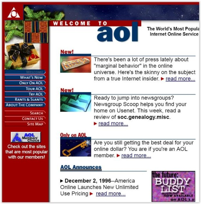 The Evolution of Websites: How popular websites used to look - AOL