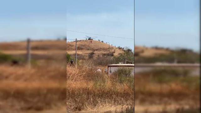 Nos dejaron solos, Militares son captados recibiendo suministros en cerro en desde un Helicóptero