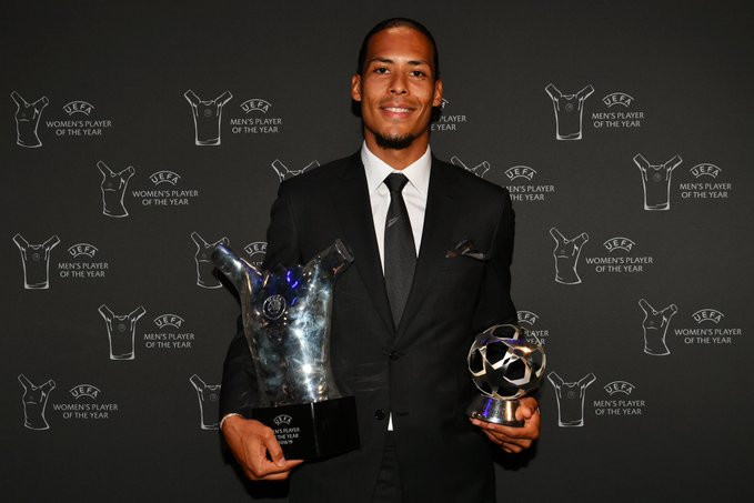 Liverpool's Virgil van Dijk beats Lionel Messi and Cristiano Ronaldo to win UEFA Player of the Year
