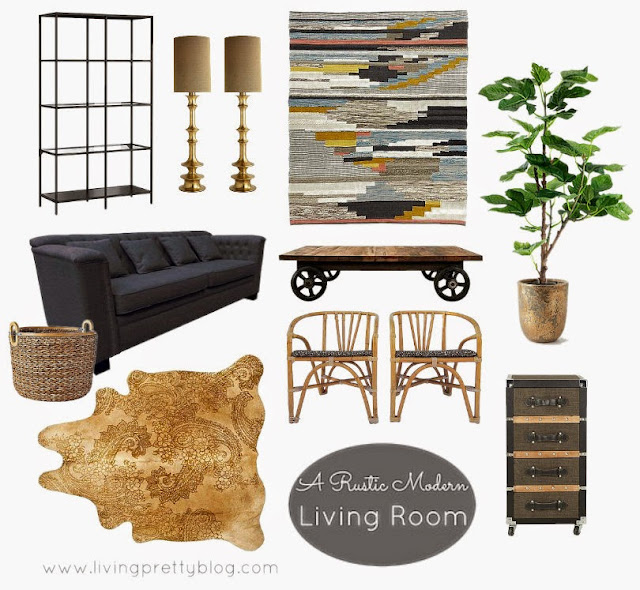 Mood Board - Modern Industrial Rustic Living Room Design Plans