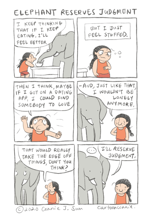 elephant, illustration, comics, humor, coping mechanisms, sketchbook drawing, connie sun, cartoonconnie