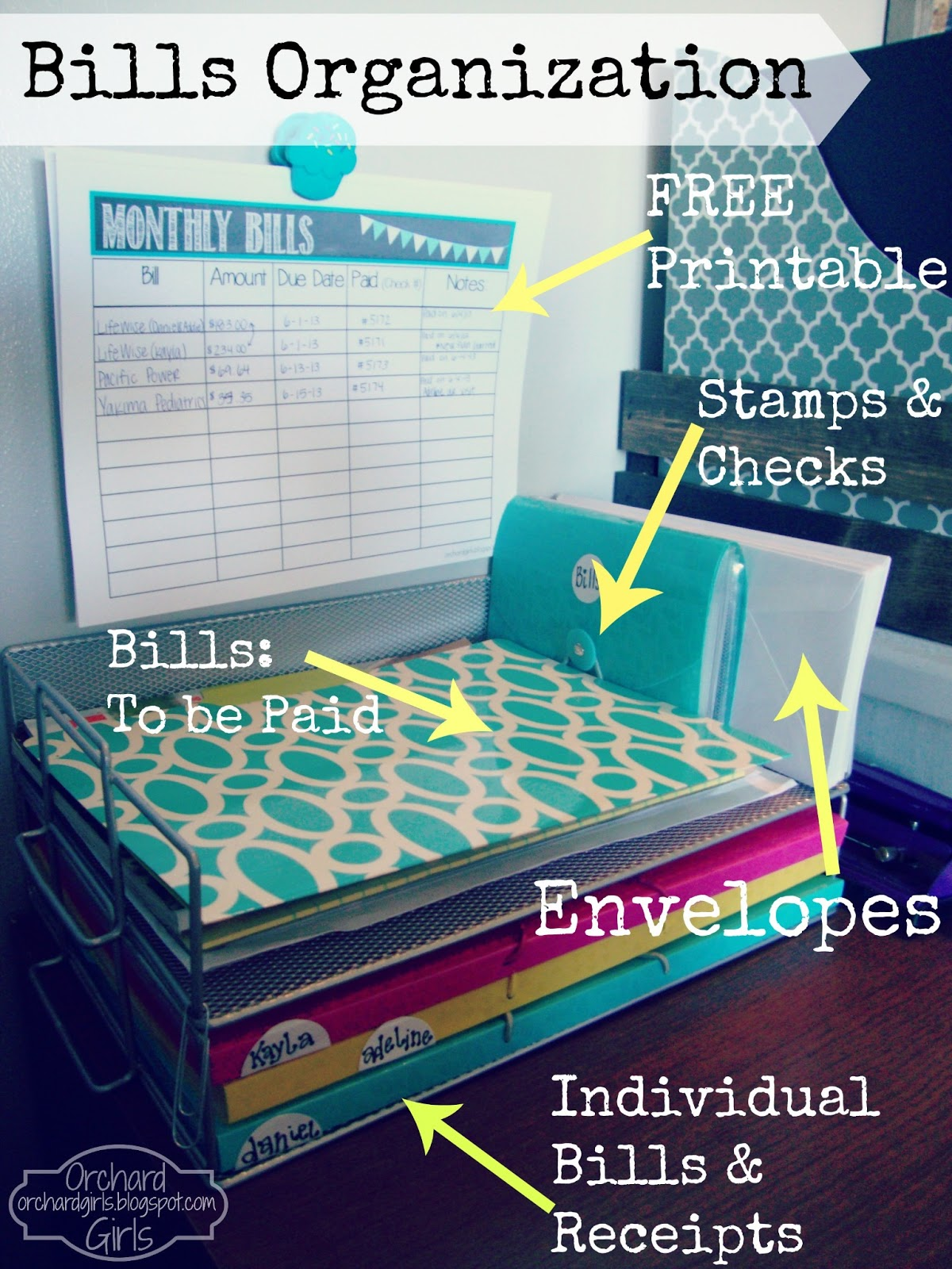 Orchard Girls Monthly Bills Organization Station Free Printable